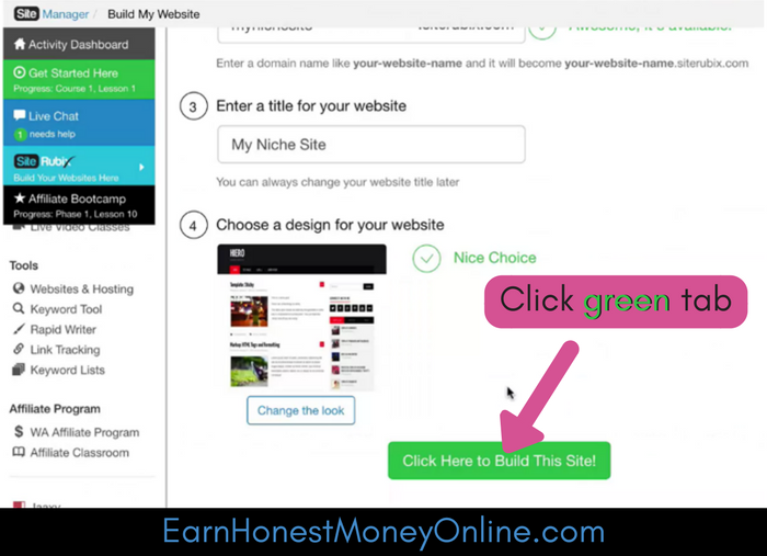 Click Green button to build the WordPress site